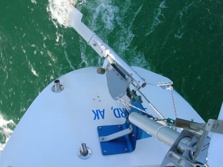 Top view SAILOMAT 700, sailing.